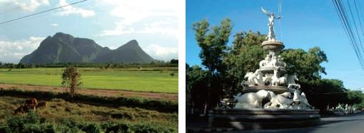 妙奇な形の山(パッタルン)(左) 町の象徴モニュメント(トラン)(右)