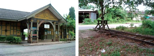 田舎の鉄道の終着駅「ガンタン」(左) 線路の終点 (この先は海です)(右)