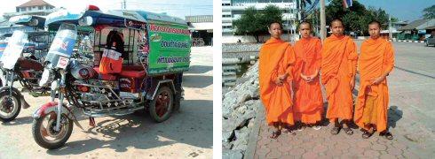 東北タイのサムロー(BKKと形が違います)(左) 将来に大きな夢を持つ若い修行僧たち(右)