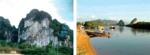 この辺はこういう形をした岩山が沢山あります(左) クラビー川に面した港(外洋に通じている)
