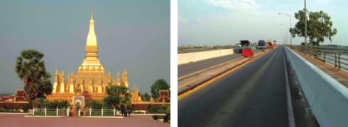 ラオスを訪れたらまずは行きたいタートルアン(左) 一度は列車で通ってみたい友好橋(右)