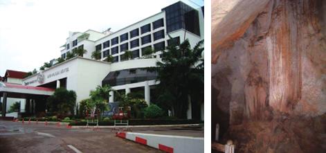 ビエンチャンでも有数の高級ホテル(左) 不思議な形をした鍾乳石(右)