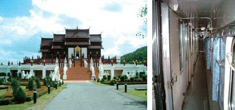 昔と変わない重厚な建物(ロイヤル・パビリオン)(左) 1等寝台車の車内の様子(右)
