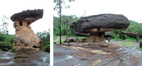 何とも不自然な頭でっかちの巨岩 自然の力のすごさ