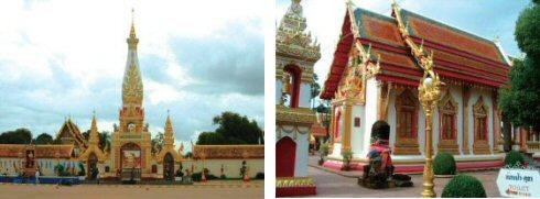 プラタートパノムの美しい姿の仏塔(左) 極彩色に彩られたプラタートパノム寺院(右)