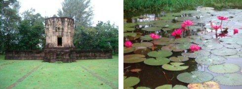 静かなたたずまいのバーン・プルアン遺跡(左) 遺跡横の堀に咲く可憐なハスの花(右)