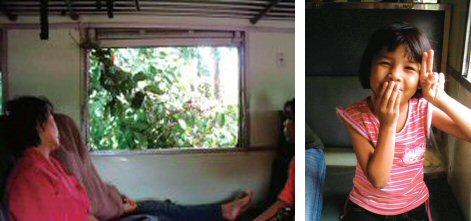 車内に居ても安心出来ません(窓から枝が)(左) はい、ポーズ!(可愛い女の子)(右)
