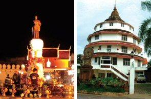 ライトアップされたスラナリ像(左) 珍しい木造のチェディー(右)