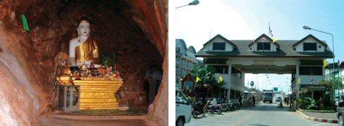 タイの男前の仏様(一般の仏様とは顔立ちが大分違う)(左) タイ国境(タイ側)のイミグレーション(右)