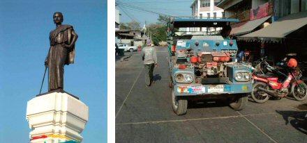 凛々しい姿のタオ スラナリ像(左) 手作りのトラック(これでもしっかり動きます)(右)