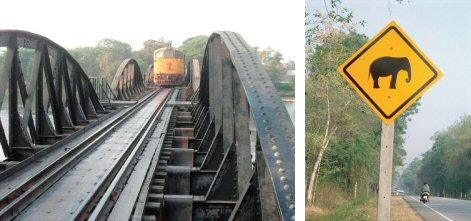 クウェー川鉄橋を渡るディーゼル列車(左) 珍しい標識「象に注意!」(右)