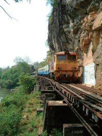 崖にへばりついて走る列車