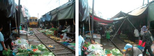 列車が来ると庇はこの通り(鉄道市場)(左) 列車が行った後の市場(同じ位置で撮影)(右)