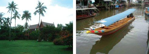 落ち着いた雰囲気のラーマ2世記念公園(左) こんな大きな船に一人で乗りました(右)